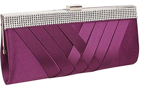 Tina Women's Diamond Studded Braided Evening Party Chain Clutch Handbag Purple