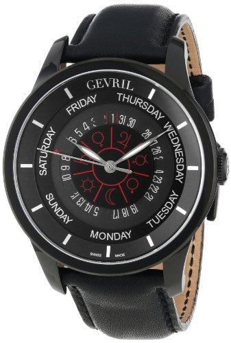 Gevril Men's 2001_Set Columbus Circle Automatic Black Leather Watch and Ballpoint Pen Watch Set
