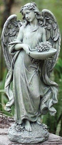 Roman Josephs Studio Inspirational Angel Bird Feeder Outdoor Garden Statue, 15.5-Inch