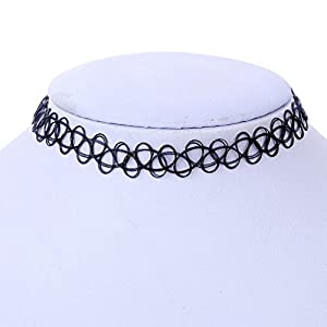 Black Vintage Stretch Tattoo Henna Choker Hippy Necklace