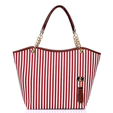 Simplified Style Tote Elegant Shoulder Bag Gold Chain Metal Tassel Handbag Canvas Purse