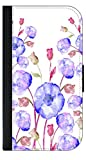 03-Watercolor Florals Wallet Case for the Samsung Galaxy s4 i9500-Black leather-Look Case with Flip Cover and Magnetic Closure