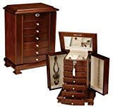 Walnut Locking Jewelry Box (Walnut) (15&quot;H x 11&quot;W x 7&quot;D)