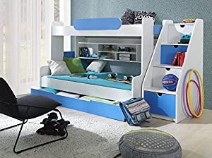 Brand New Kids Children Bedroom Bunk Bed HARRY with under bed storage and stairs in blue sold by Arthauss