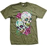 Sugar Skulls With Roses Men's T-shirt (Olive, Large)