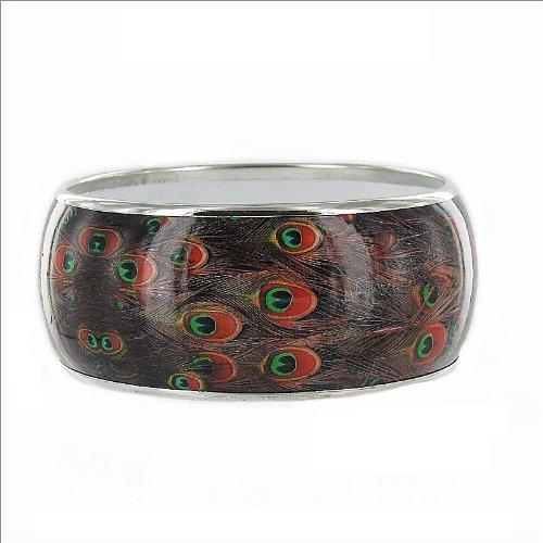 JOA Peacock Feather Print Bangle Bracelet #033191