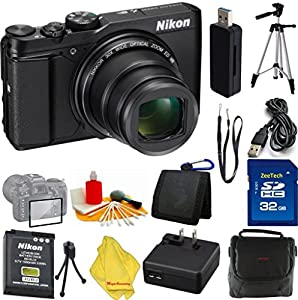Nikon COOLPIX S9900 Digital Camera with 30x Optical Zoom and Built-In Wi-Fi (Black) + Case + 32 GB Card + Reader + 6pc Starter Set + Tripod