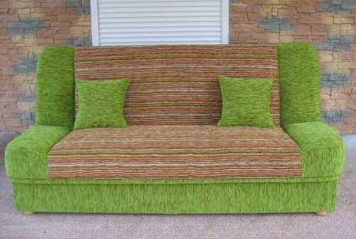 Green Sofa Bed Maddy with bedding place and 'clic-clak' mechanism. Any colors
