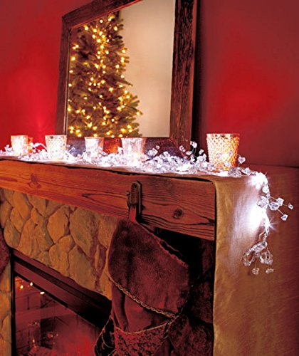 """100"""" Led White Lighted Gem Acrylic Bead Battery Operated Garland"""