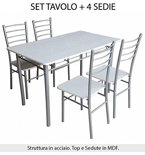SET TAVOLO CON 4 SEDIE INCLUSE MISURE CM. 120X70