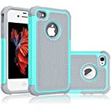 iPhone 5S Case, Tekcoo(TM) [Tmajor Series] [Turquoise/Grey] iPhone 5 5S Case Shock Absorbing Hybrid Best Impact Defender Rugged Slim Cover Skin Shell w/ Hard Plastic Outer & Rubber Silicone Inner