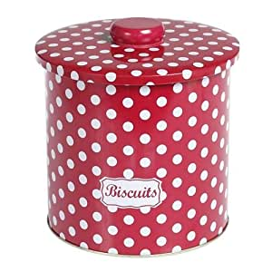 Red Spotty Biscuit Tin Kitchen Home