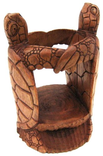 Hand Carved Double Turtle Wine Bottle Holder Stand