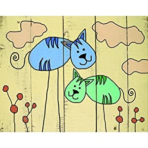 Cats on Wood Canvas Art