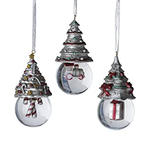 Towle Holiday Wishes Christmas Tree Snow Globe Ornaments, Set of 3