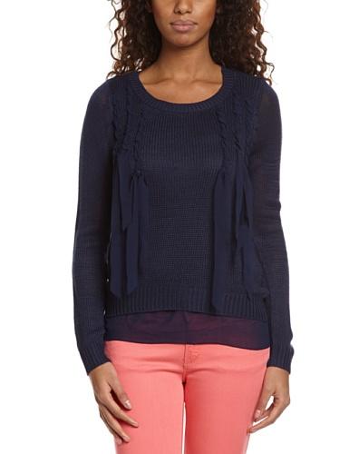 Vero Moda - Maglia, colletto tondo, manica lunga, donna, Bleu Marine (Peacoat), S