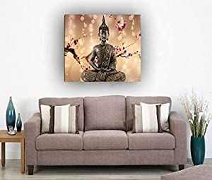 Framed single Panel Home D¨¦cor Flowers Religion Buddha Oil Painting On Canvas
