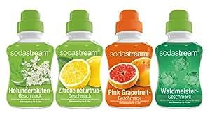 SodaStream 4er Sirup-Mischpackung mit Holunderblüte, Zitrone naturtrüb, Pink Grapefruit, Waldmeister (4 x 375ml)