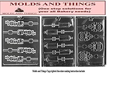 It's A Girl Lolly Chocolate Candy Mold, baby bottle Chocolate Candy Mold and baby rattle candy mold With © Candy Making Instruction