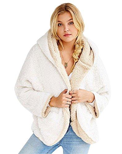 Qiuse Women's Lovely Double-Side Faux Lamb Fur Reversible Batwing Fleece Hooded Coat (Large, White)