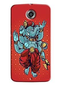 Blue Throat Lord Ganesha Dancing Printed Designer Back Cover/ Case For LG Google Nexus 6