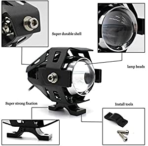 GOODKSSOP 2pcs Super Bright 3000LM CREE U5 125W LED Motorcycle Universal Headlight Work Light Driving Fog Spot Lamp Night Safety Headlamp + 1pcs Switch (Black) (Color: Black)