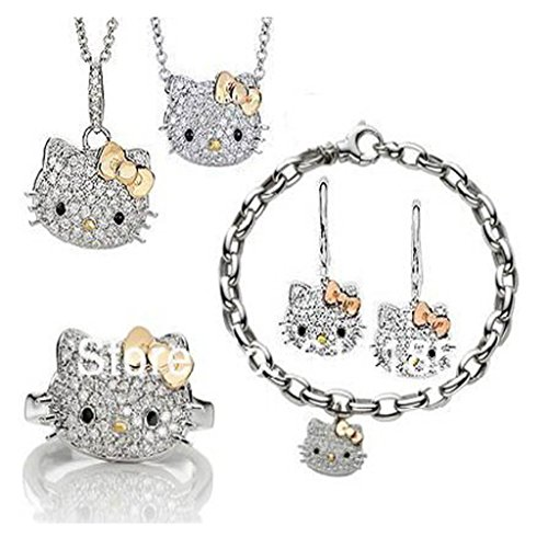 Girls-Fashion-Jewelry-Hello-Kitty-W-Goldtone-Bow-Necklace-Earrings-Bracelet-Ring-Set-S-HT-1091