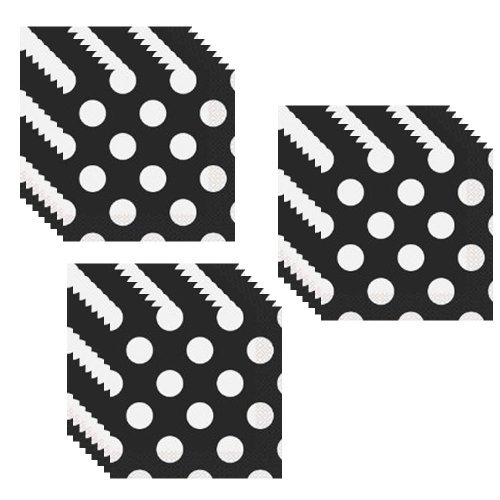 Black Polka Dot Luncheon Napkins - 48 Pieces