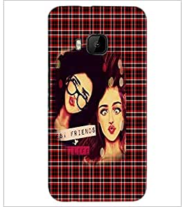 PrintDhaba Best Friends D-3495 Back Case Cover for HTC ONE M9S (Multi-Coloured)