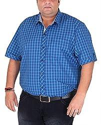 Xmex Men's Cotton Shirt (KR-HSECOT.BLUE, Blue, XXXX-Large)