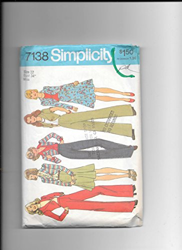 Simplicity 7438 Vintage Sewing Pattern for Misses 12, Shawl Collar Cropped Jacket, Gored Skirt, Flared Leg Back Zip Waistband Flat Front Pants, PDF