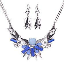 buy Modern Fantasy Metal Chain Vintage Costume Jewelry Sets Alloy Statement Necklace (Silvery)