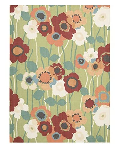Waverly Sun & Shade Pic-A Poppy Indoor/Outdoor Rug, Seaglass, 5' 3 x 7' 5