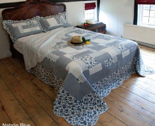 Quilted Bedspread -Natalie Blue Floral Patchwork (KING SIZE 260CM X 260CM)