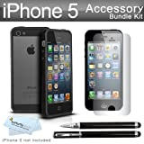 New iPhone 5 Bumper Case Kit Includes Photive Hybrid iPhone 5 Bumper Case for Apple iPhone 5 + 3 Pack Ultra Clear Film Screen protectors + Ultra-Sensitive 2 in 1 Capacitive Stylus with Integrated Ballpoint Pen + More ( Perfect Fit For The New iPhone 5)