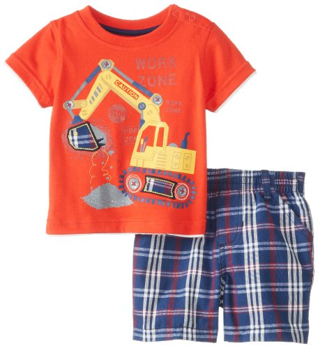 Kids Headquarters Baby-Boys Newborn Crew Neck Tee With Plaided Shorts Work Zone, Red, 3-6 Months front-731553