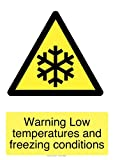 Warning low temperatures self adhesive safety stickers 150mm x 100mm