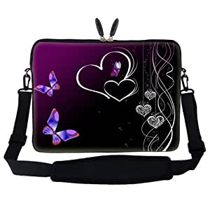 """15 15.6 inch Butterfly Heart Design Laptop Sleeve Bag Carrying Case with Hidden Handle & Adjustable Shoulder Strap for 14"""" 15"""" 15.6"""" Apple Macbook, Acer, Asus, Dell, Hp, Sony, Toshiba, and More"""