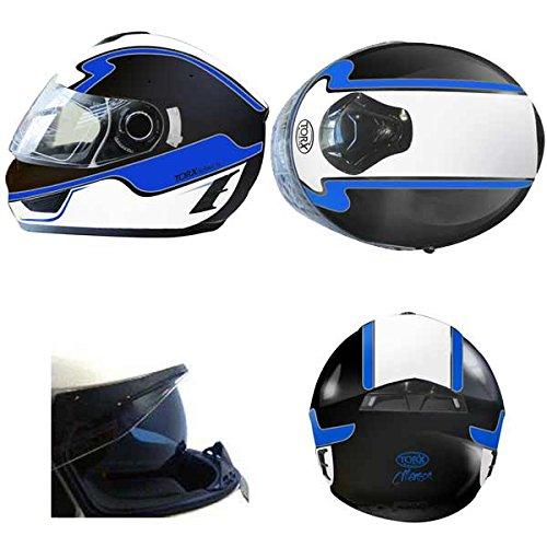Casque Moto intégral MANSON déco Bleu Taille M