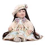 NPKDOLL Preciosa Muñeca De Juguete De Alta Vinilo De 22 Pulgadas 55 Centímetro Realista Linda Del Muchacho Del Corazón De La Muchacha Vestido De Negro Rojo Del Juguete Reborn Doll A1ES