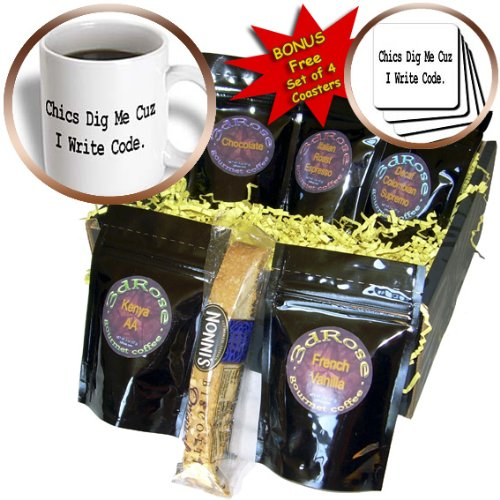 Dooni Designs Geek Designs - Chics Dig Me Cuz I Write Code Programmer Coder Computer Geek Humor Design - Coffee Gift Baskets - Coffee Gift Basket (cgb_150108_1)