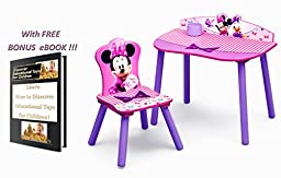Minnie Mouse Furniture Desk & Chair Colorful Activity Table & Seat Sit Play and Learn Gift with Free Bonus eBook