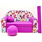 Kindersofa Bettfunktion 3in1 Sofa Kindersessel Ausziehbett Bett M33 Schmetterlinge
