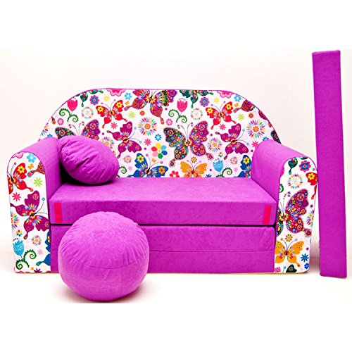 Kindersofa-Bettfunktion-3in1-Sofa-Kindersessel-Ausziehbett-Bett-M33-Schmetterlinge