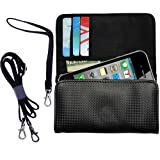 Black Purse for the Apple iPhone 5 includes a hand loop and shoulder strap