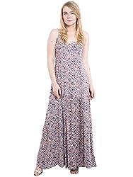 KASHANA Rayon Staple Brown Paisley Printed Sexy Beach Strap Dress For Women Ladies Girls