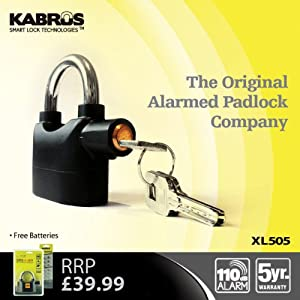 Kabrus Xl505 Multi Purpose Alarmed Padlock with 110db Siren Alarm / Motor Bike Motorcycle Security Lock / Caravans Trailers Campervan Locks / Secure Shipping Containers, Doors, Gates, Garden Sheds