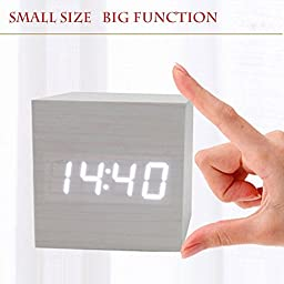 maylit(TM)Digital LED Alarm Clock Sound Control Wood clock Desk table Clocks USB/AAA battery Temperature Display office electronics