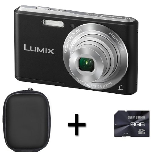 Panasonic Lumix DMC-F5 - Black + Case and 8GB Memory Card (14.1MP, 5x Optical Zoom, Super Slim Design, 28mm Wide Angle Lens, HD Video Recording) 2.7 inch LCD