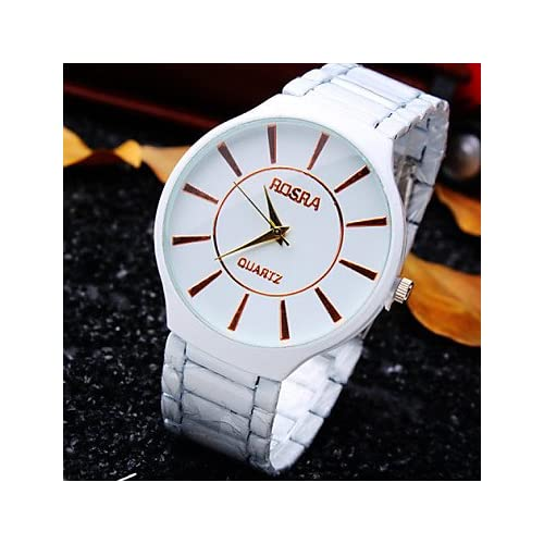 Men's New Classic Simplicity Round Dial Fine Ceramics Steel Strap Fashion Business Quartz Watch (Assorted Colors)
